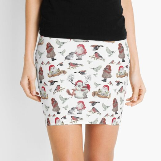 Gnome Christmas Pattern Mini Skirt