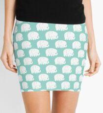 mod baby elephants mint Mini Skirt
