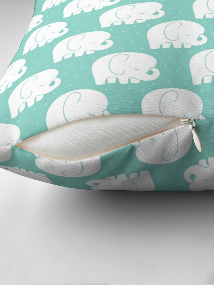 Alternate view of mod baby elephants mint Floor Pillow