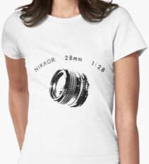 Nikkor 28mm Black Women's Fitted T-Shirt