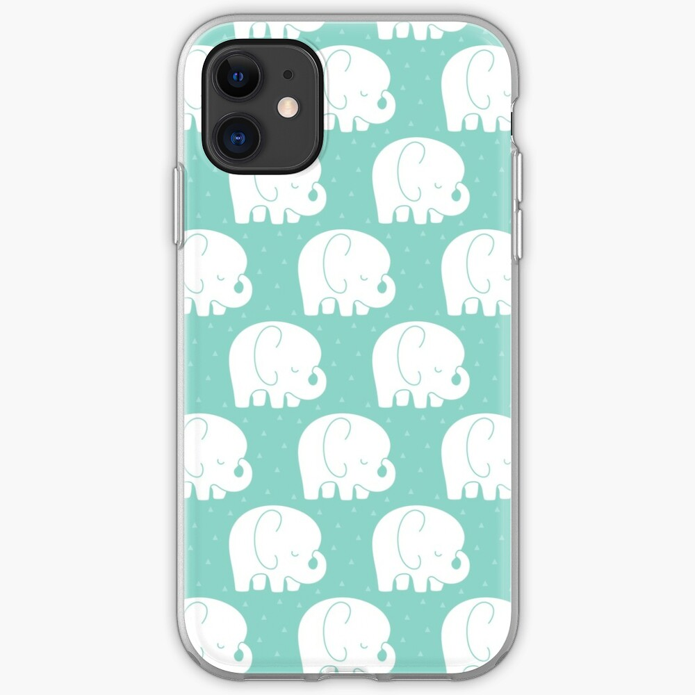 mod baby elephants mint iPhone Case & Cover
