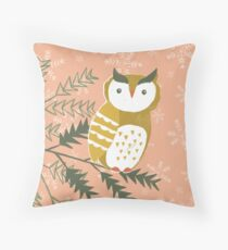 Winter Woodland Owl by Katy Bloss Throw Pillow