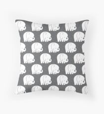 mod baby elephants grey Throw Pillow