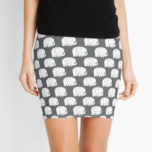 mod baby elephants grey Mini Skirt