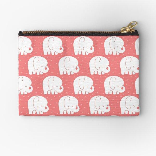 mod baby elephants coral Zipper Pouch