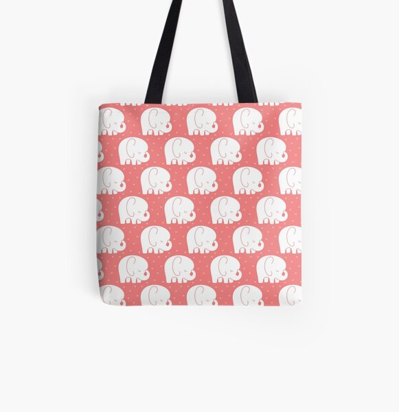 mod baby elephants coral All Over Print Tote Bag