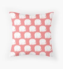 mod baby elephants coral Throw Pillow