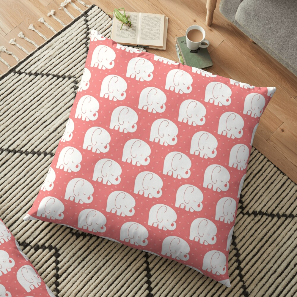 mod baby elephants coral Floor Pillow