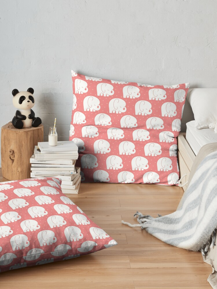 Alternate view of mod baby elephants coral Floor Pillow