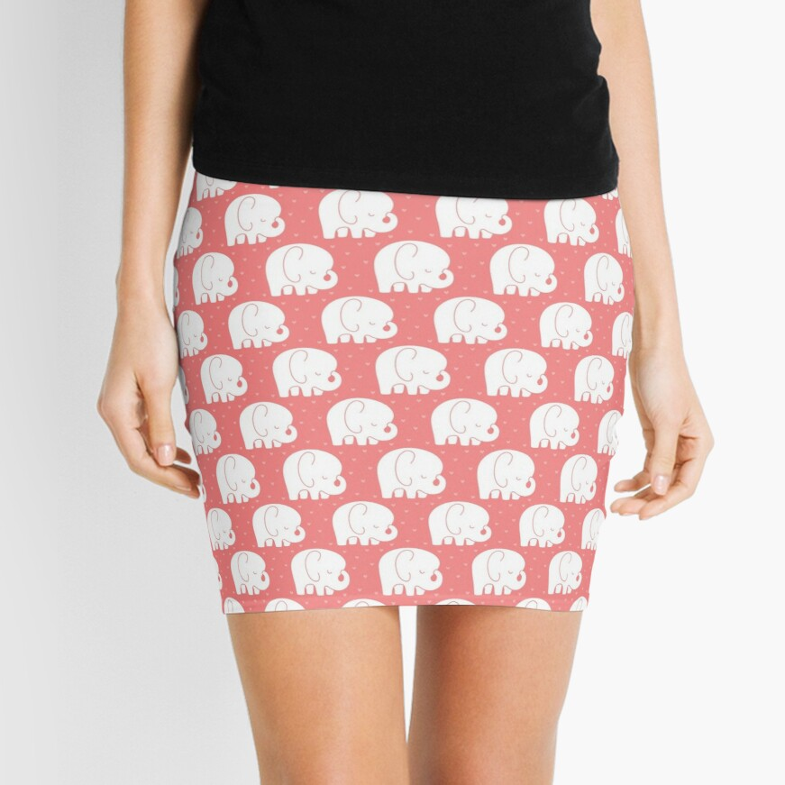 mod baby elephants coral Mini Skirt