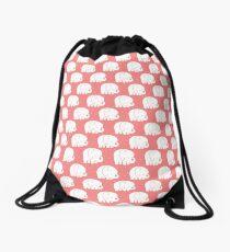 mod baby elephants coral Drawstring Bag