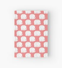mod baby elephants coral Hardcover Journal