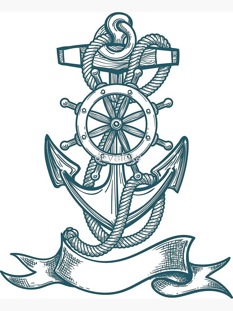 Carte De Vœux Tatouage D Ancre De Bateau Bleu Par Devaleta Redbubble