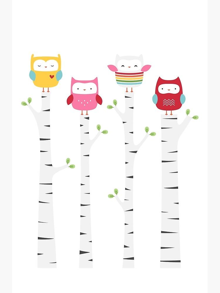 Treetop Owls by MissTiina