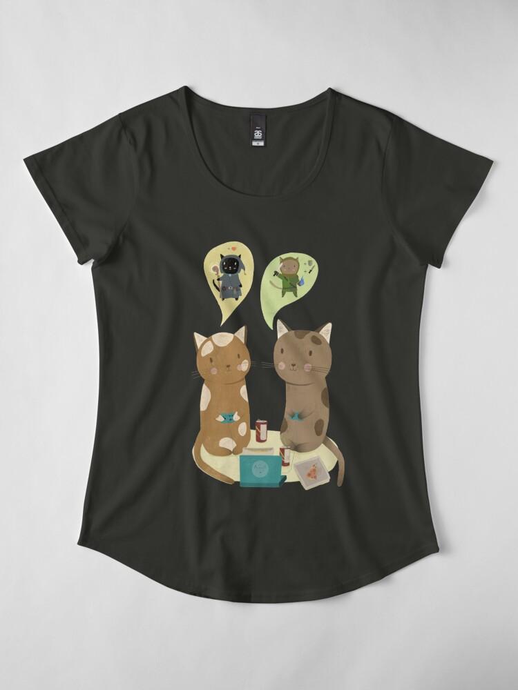 Alternate view of Geek Cats  Premium Scoop T-Shirt