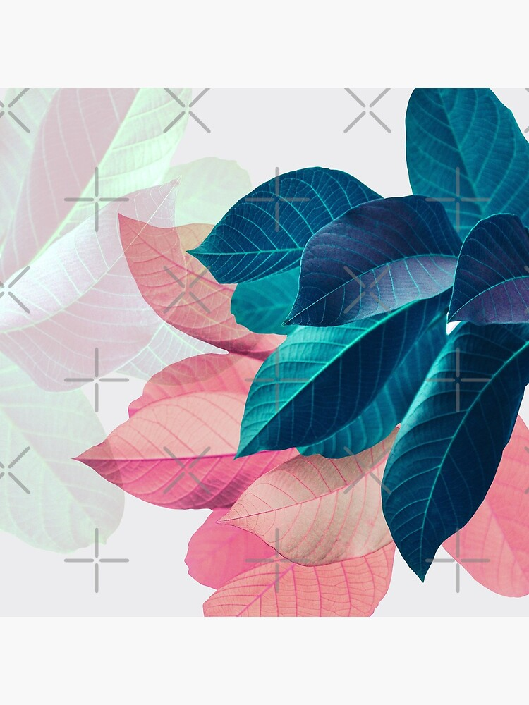 Blue Pink Plant Leaf by PrintsProject
