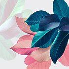 Blaues rosa Pflanzenblatt von PrintsProject