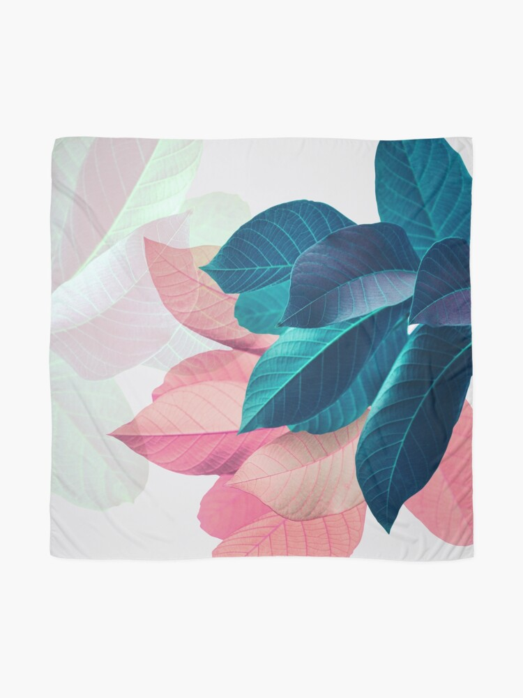 Alternate view of Blue Pink Plant Leaf Scarf