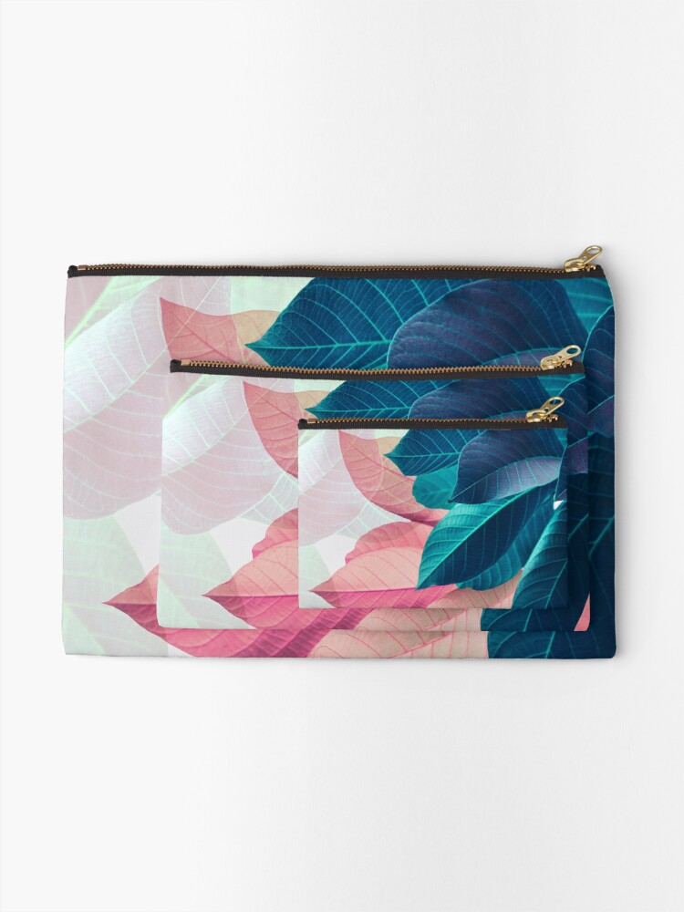 Alternate view of Blue Pink Plant Leaf Zipper Pouch