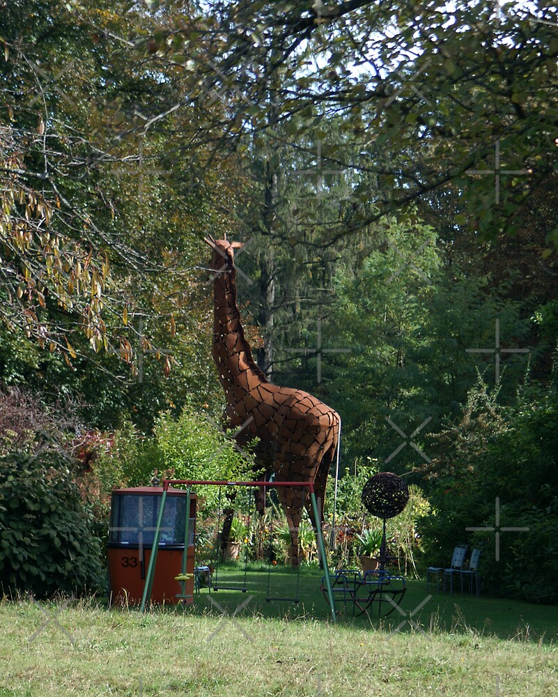 """a giraffe and a cable car in """"my"""" garden by poupoune"""
