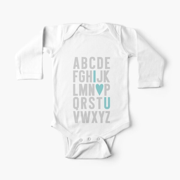 ABC I Love You Blue Long Sleeve Baby One-Piece
