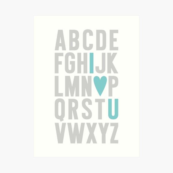 ABC I Love You Blue Art Print