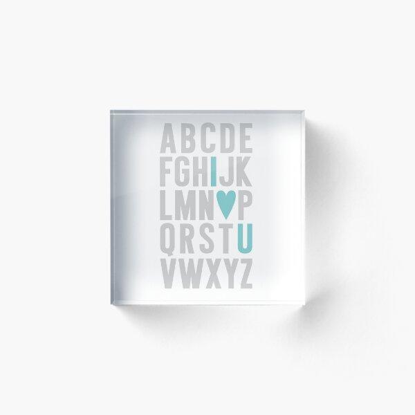 ABC I Love You Blue Acrylic Block