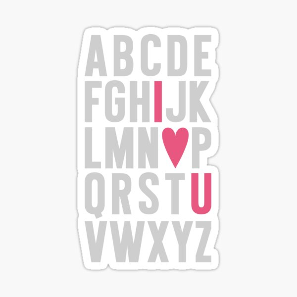 ABC I Love You Pink Sticker