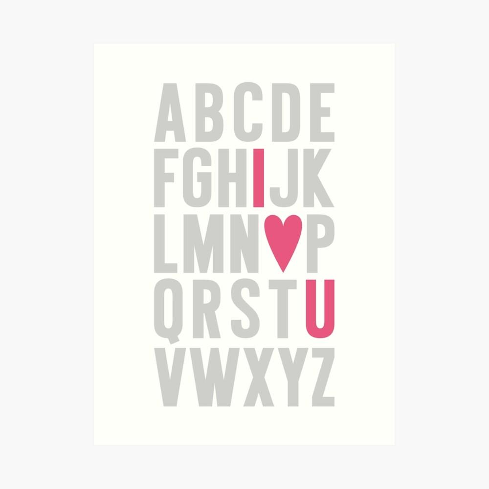 ABC I Love You Pink Art Print
