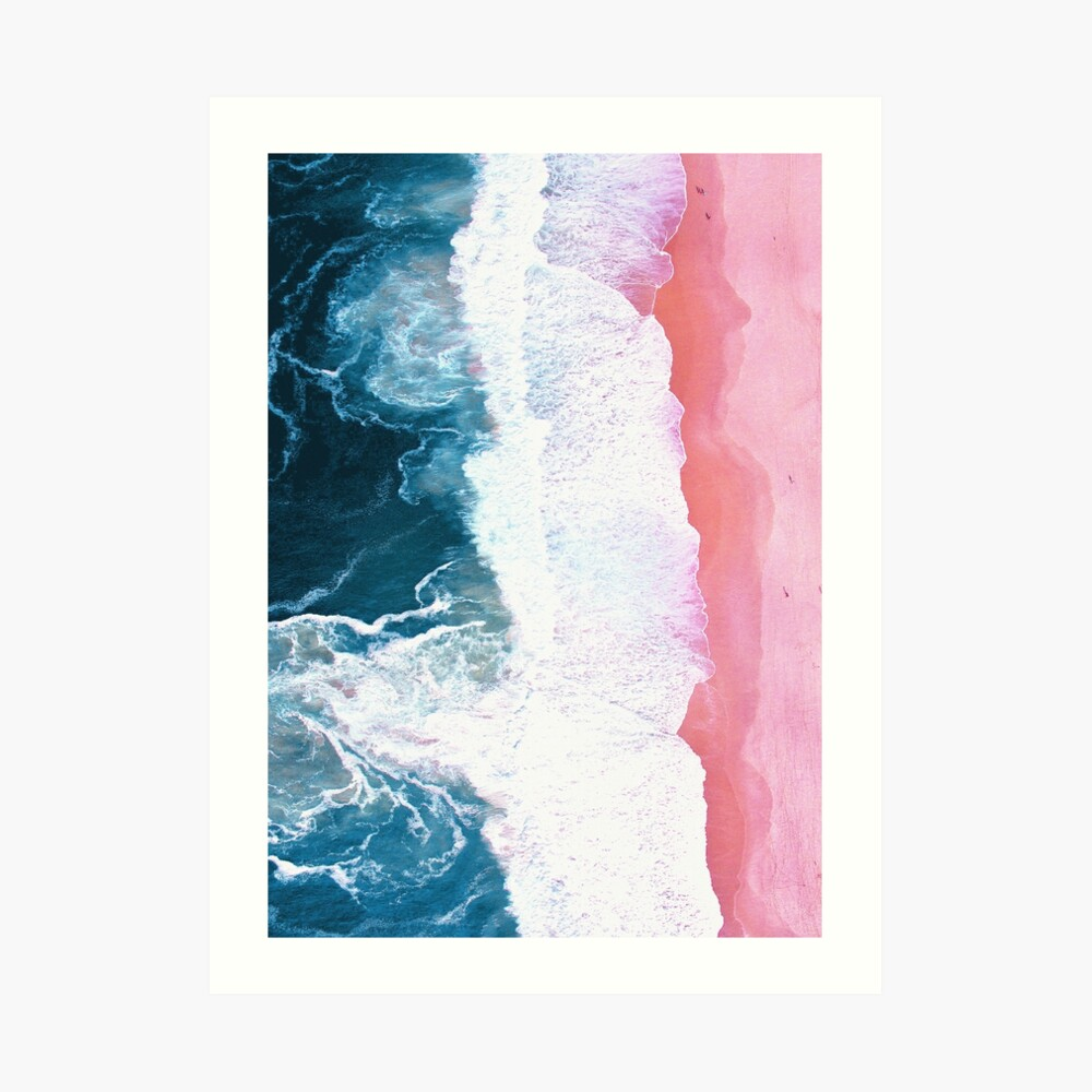 Aerial Beach, Ocean Waves Art Print