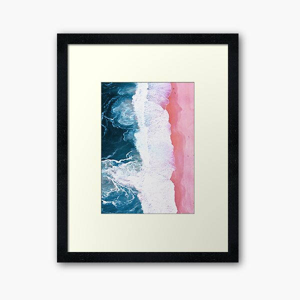 Aerial Beach, Ocean Waves Framed Art Print