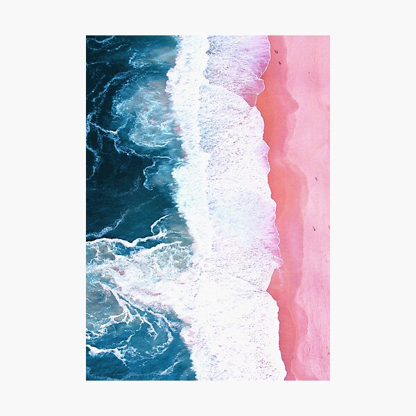 Aerial Beach, Ocean Waves Photographic Print