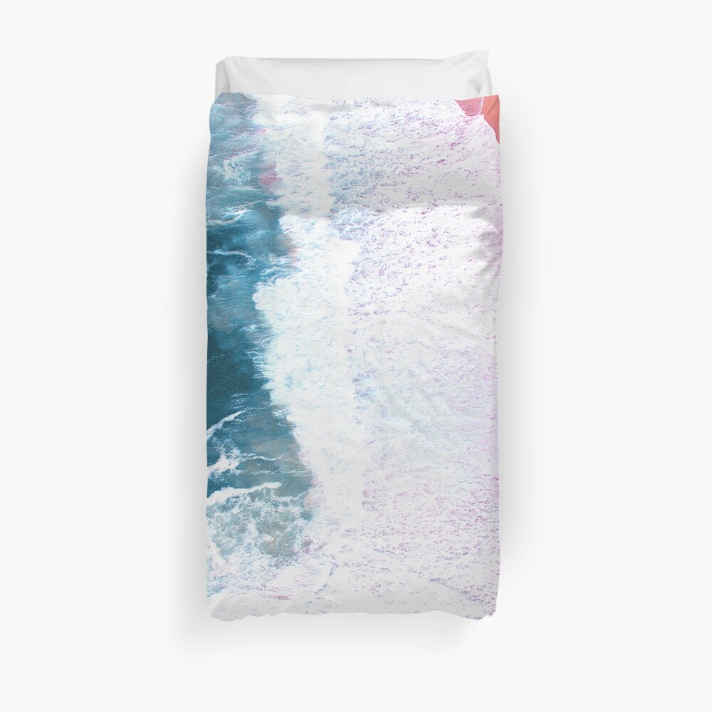 Aerial Beach, Ocean Waves Duvet Cover