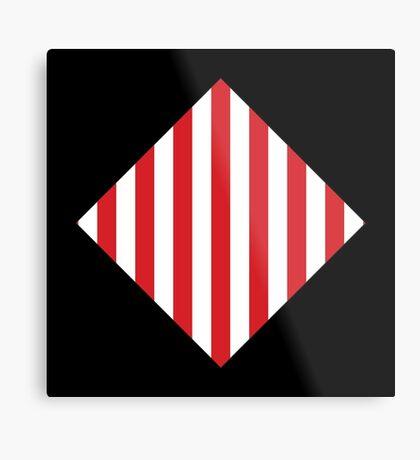 Red & White Warning Stripes Metal Print