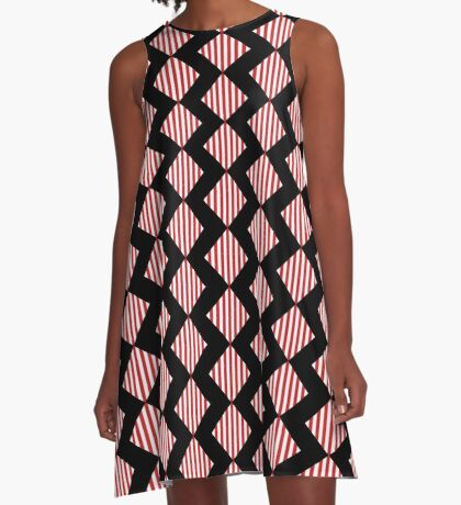 Red & White Warning Stripes A-Line Dress