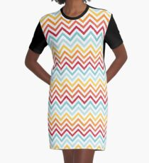 Rainbow Chevron #2 Graphic T-Shirt Dress