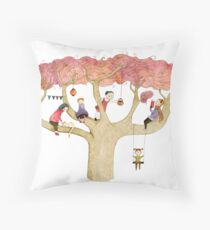 Playing In The Tree Throw Pillow