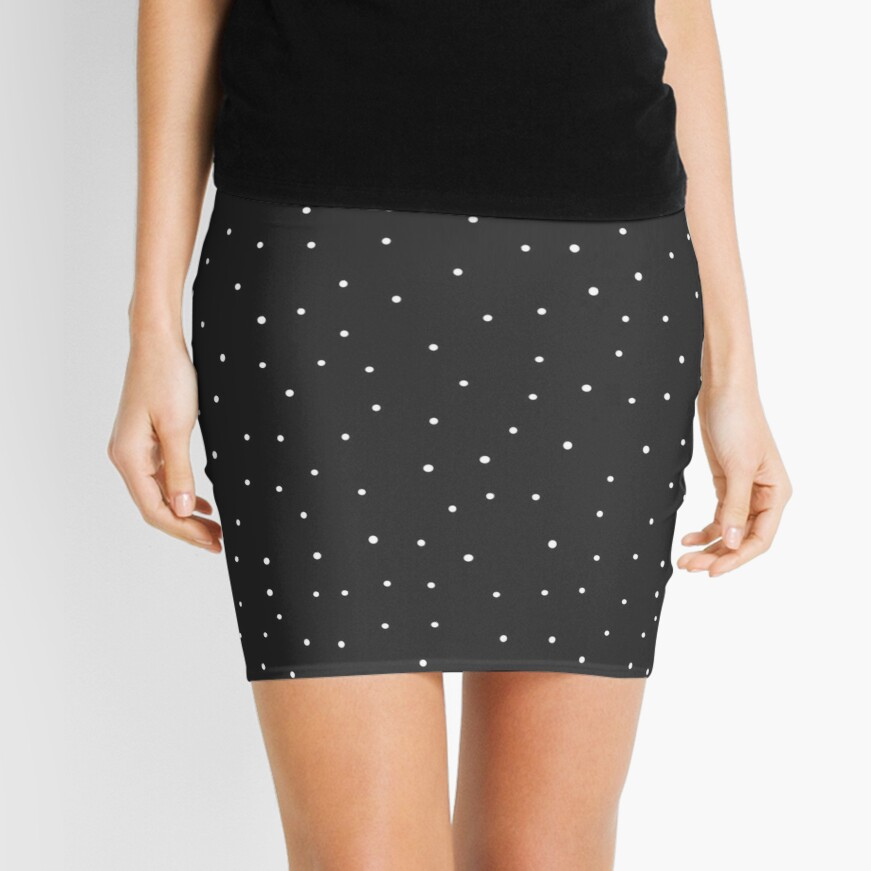 Random Dots on Black Mini Skirt