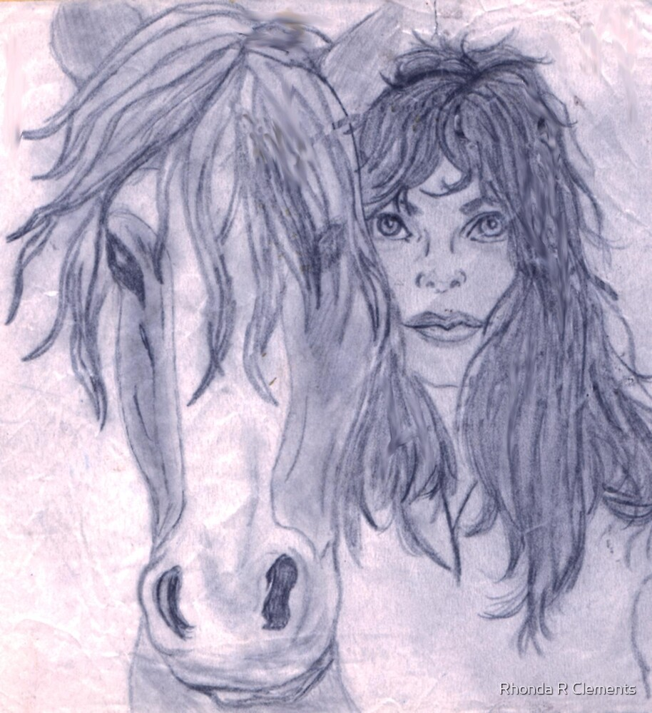 Girl with horse by Rhonda R Clements