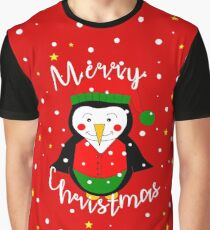 Merry Christmas Penguin Graphic T-Shirt