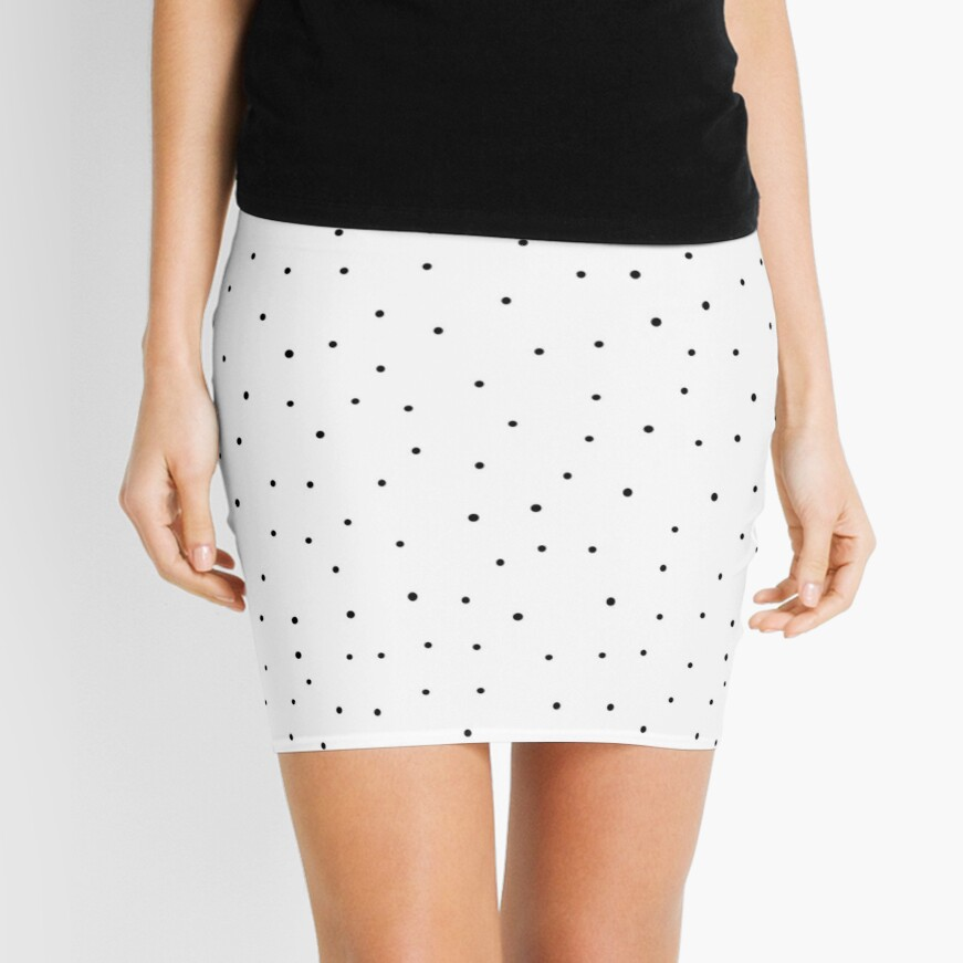 Random Dots on White Mini Skirt Front