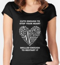 Funny Nurse/EMT Gifts - Cute Enough - Best Cute Gift for Him, Her, Men, Women, Boyfriend, Girlfriend, Best Friend, Husband, Wife, Son, Daughter, Dad, Mom, Couples, Brother or Sister Women's Fitted Scoop T-Shirt
