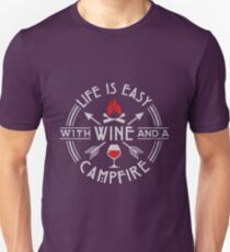 Camping Life Is Easy With Wine & A Campfire Gift Unisex T-Shirt