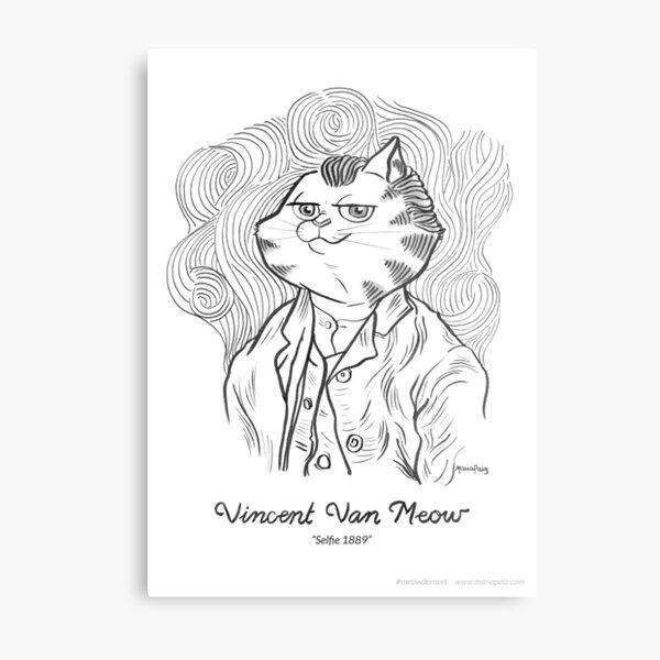 #meowdernart - Vincent Van Meow Metal Print