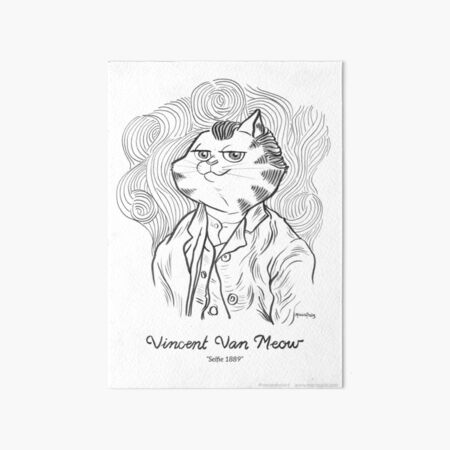 #meowdernart - Vincent Van Meow Art Board Print