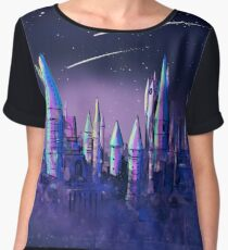 Magical Wizard Castle School with Shooting Stars in Space Watercolor Chiffon Top