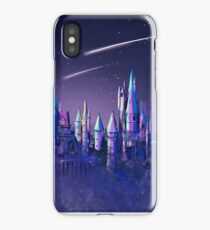 Magical Wizard Castle School with Shooting Stars in Space Watercolor iPhone Case/Skin