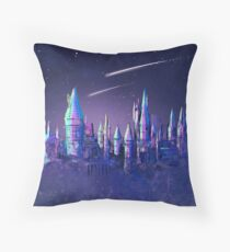 Magical Wizard Castle School with Shooting Stars in Space Watercolor Throw Pillow