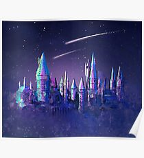 Magical Wizard Castle School with Shooting Stars in Space Watercolor Poster
