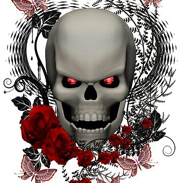 A Skull, Butterflies and Red Roses by LoneAngel